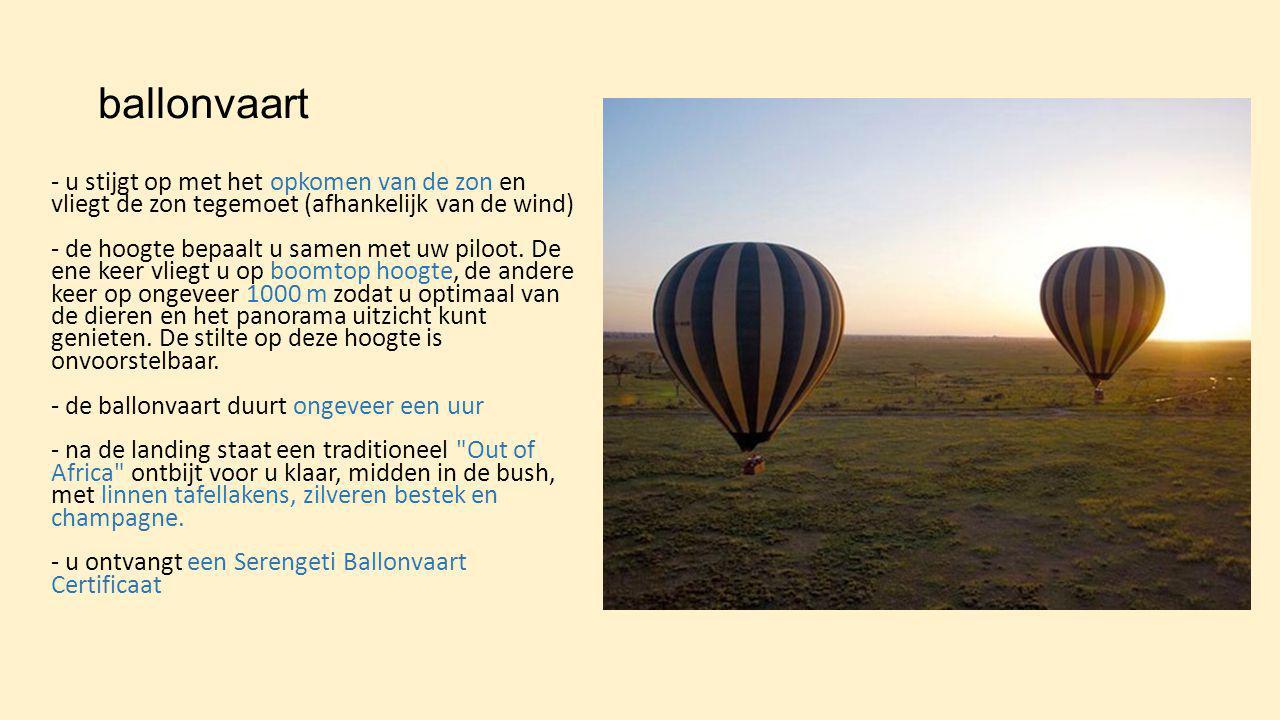 ballonvaart - u stijgt op met het opkomen van de zon en vliegt de zon tegemoet (afhankelijk van de wind) - de hoogte bepaalt u samen met uw piloot. De