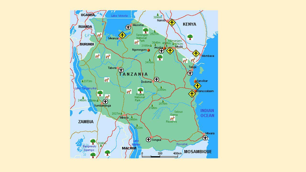 LIGGING Tanzania grenst in het noorden aan Kenia en Uganda in het zuiden aan Mozambique, Malawi en Zambia in het westen aan de Democratische Republiek Congo, Rwanda en Burundi in het oosten in zijn geheel aan de Indische Oceaan totale oppervlakte bedraagt 945.087 km² - ongeveer net zo groot als Frankrijk, Duitsland en België samen