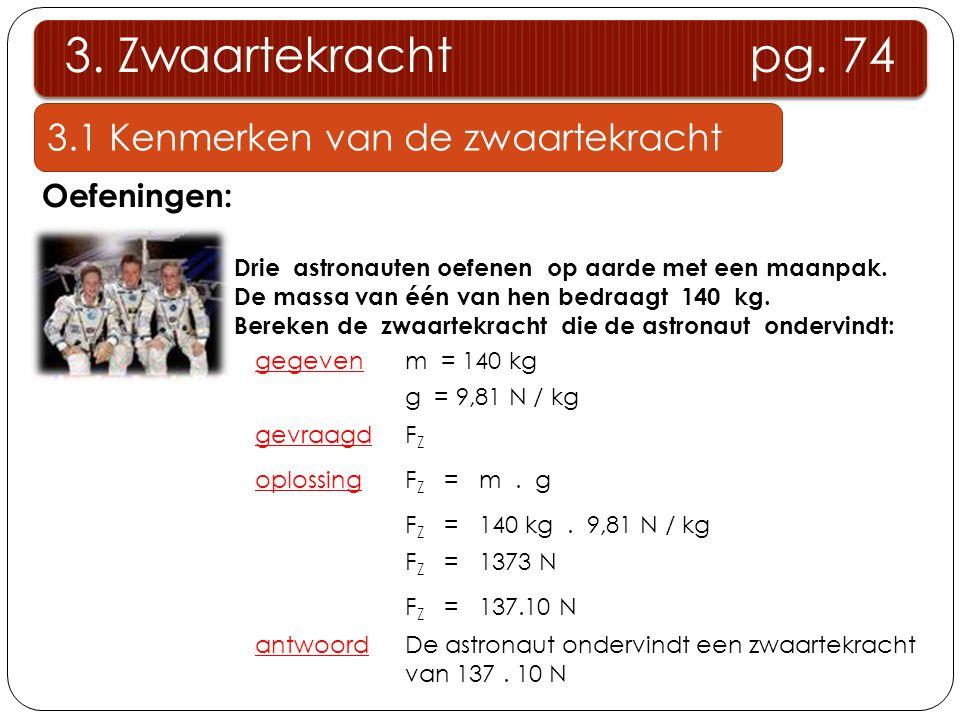 3.1 Kenmerken van de zwaartekracht 3. Zwaartekracht pg. 74 Oefeningen: Drie astronauten oefenen op aarde met een maanpak. De massa van één van hen bed