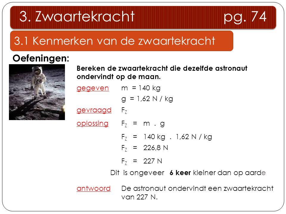 3.1 Kenmerken van de zwaartekracht 3. Zwaartekracht pg. 74 Oefeningen: Bereken de zwaartekracht die dezelfde astronaut ondervindt op de maan. gegeven