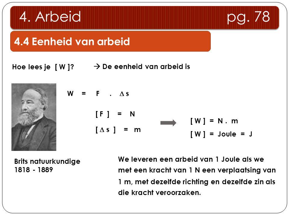 Hoe lees je [ W ]?  De eenheid van arbeid is W = F.  s [ F ] = N [  s ] = m [ W ] = N. m [ W ] = Joule = J Brits natuurkundige 1818 - 1889 We lever