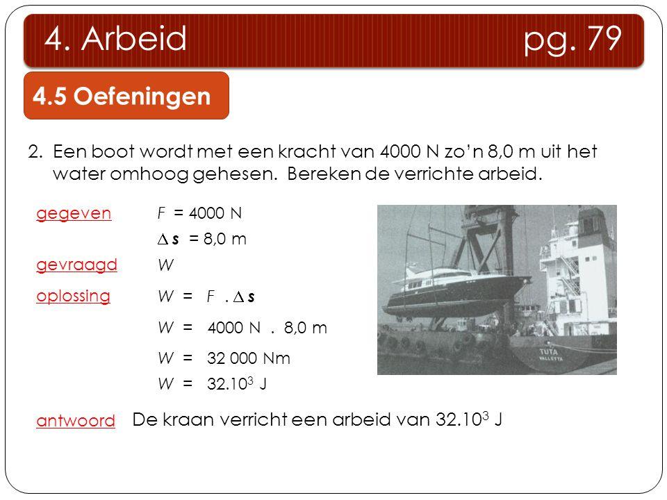 2.Een boot wordt met een kracht van 4000 N zo'n 8,0 m uit het water omhoog gehesen. Bereken de verrichte arbeid. gegeven gevraagd oplossing W  s = 8,