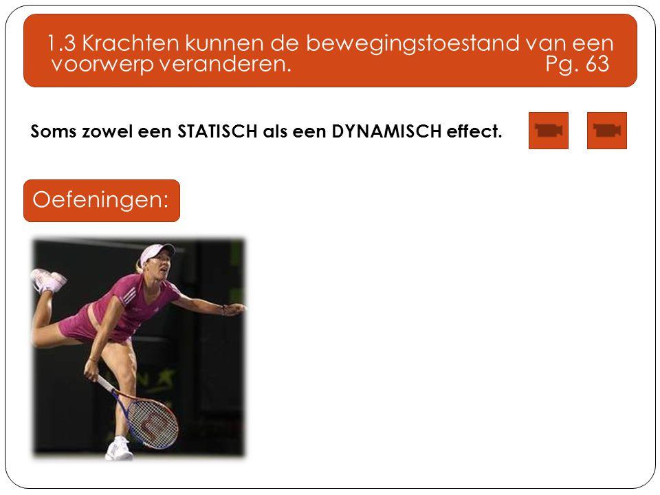 Soms zowel een STATISCH als een DYNAMISCH effect. 1.3 Krachten kunnen de bewegingstoestand van een voorwerp veranderen. Pg. 63 Oefeningen: