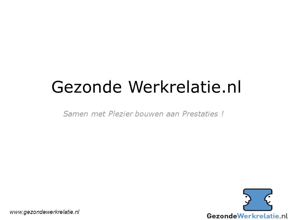 Gezonde Werkrelatie.nl Samen met Plezier bouwen aan Prestaties ! www.gezondewerkrelatie.nl