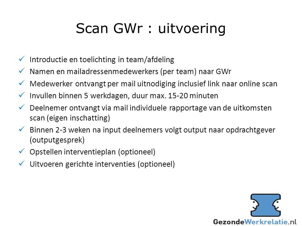 Scan GWr : uitvoering Introductie en toelichting in team/afdeling Namen en mailadressenmedewerkers (per team) naar GWr Medewerker ontvangt per mail uitnodiging inclusief link naar online scan Invullen binnen 5 werkdagen, duur max.
