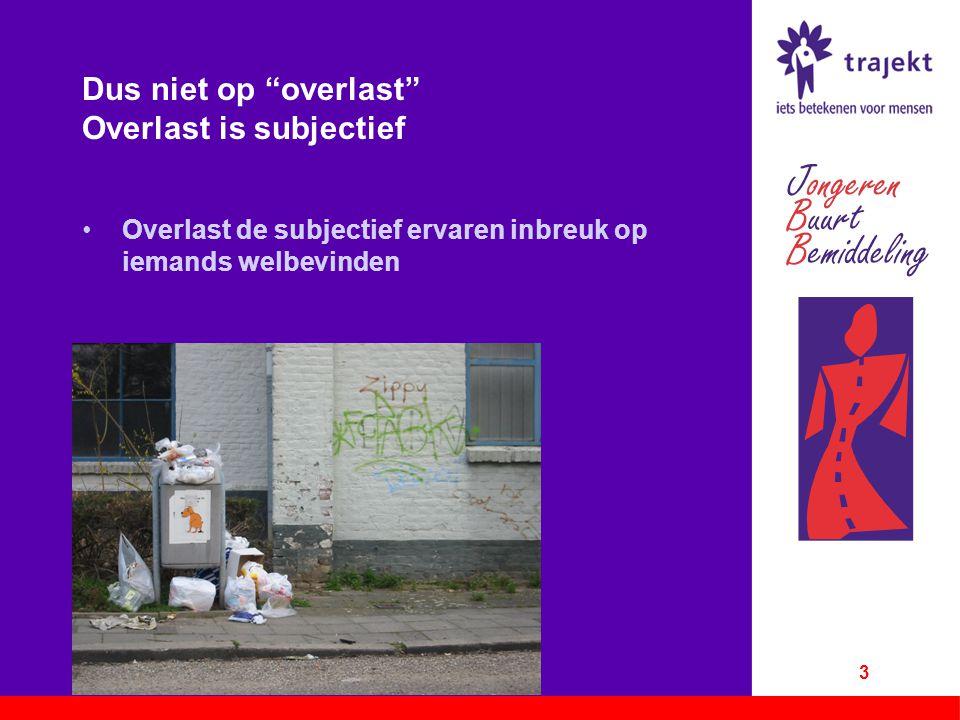 """Dus niet op """"overlast"""" Overlast is subjectief Overlast de subjectief ervaren inbreuk op iemands welbevinden 3"""