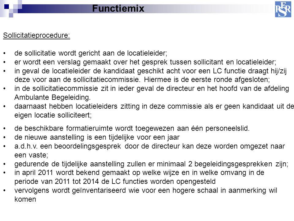 Functiemix Sollicitatieprocedure: de sollicitatie wordt gericht aan de locatieleider; er wordt een verslag gemaakt over het gesprek tussen sollicitant