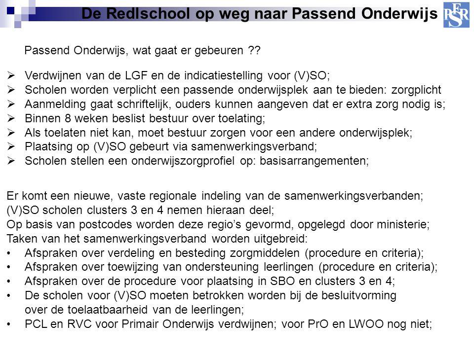 De Redlschool op weg naar Passend Onderwijs Passend Onderwijs, wat gaat er gebeuren ??  Verdwijnen van de LGF en de indicatiestelling voor (V)SO;  S