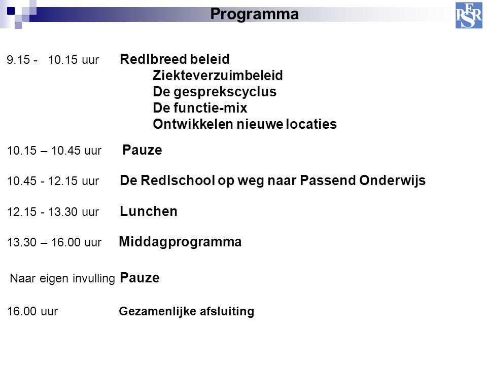 Programma 16.00 uur Gezamenlijke afsluiting 9.15 - 10.15 uur Redlbreed beleid Ziekteverzuimbeleid De gesprekscyclus De functie-mix Ontwikkelen nieuwe