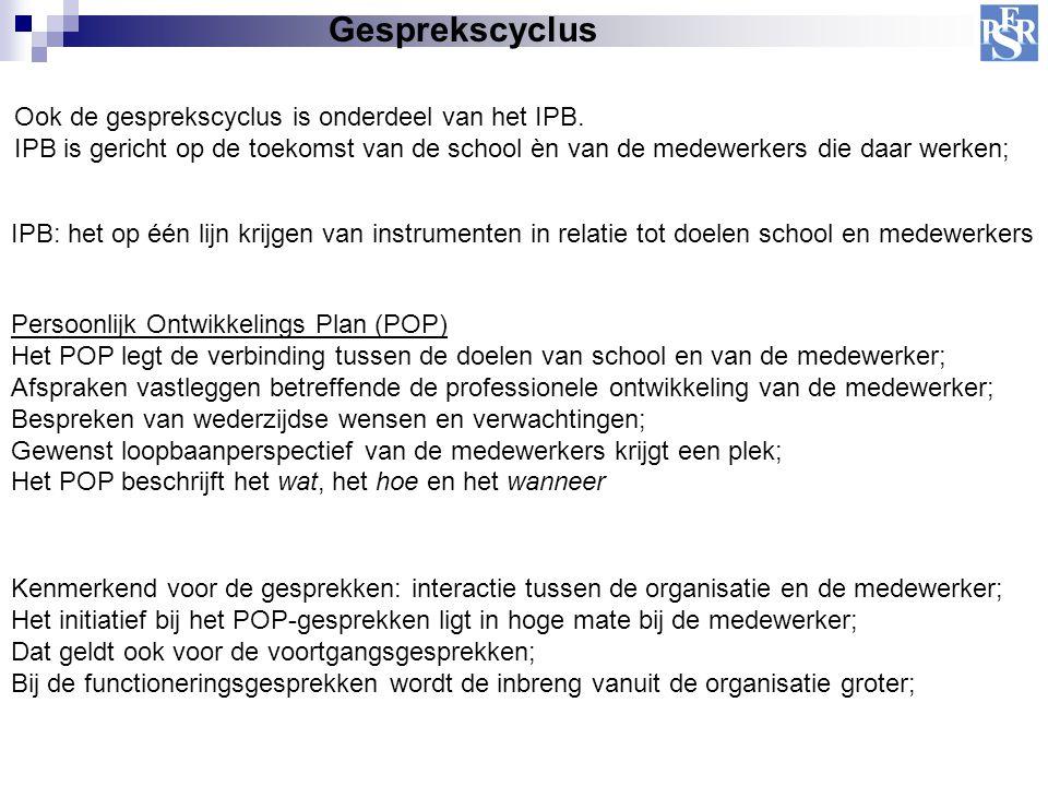 Gesprekscyclus Ook de gesprekscyclus is onderdeel van het IPB. IPB is gericht op de toekomst van de school èn van de medewerkers die daar werken; IPB: