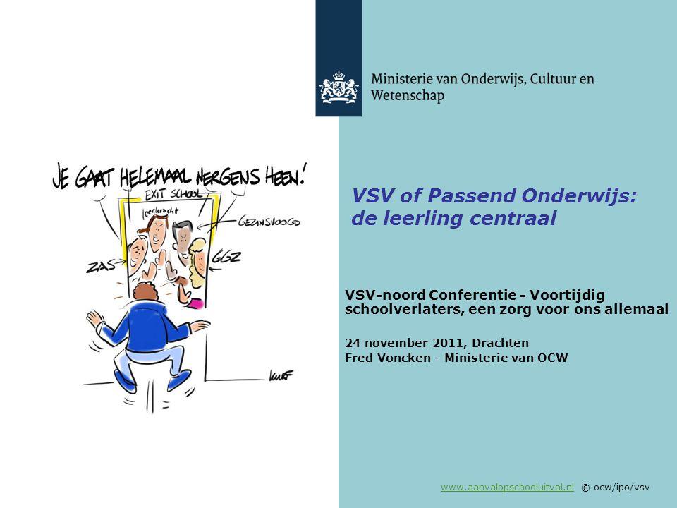 www.aanvalopschooluitval.nlwww.aanvalopschooluitval.nl © ocw/ipo/vsv VSV of Passend Onderwijs: de leerling centraal VSV-noord Conferentie - Voortijdig