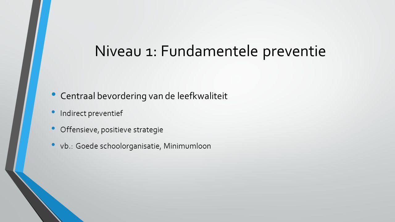 Niveau 1: Fundamentele preventie Centraal bevordering van de leefkwaliteit Indirect preventief Offensieve, positieve strategie vb.: Goede schoolorgani