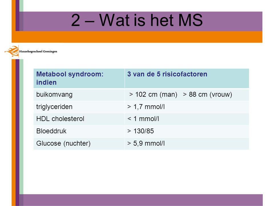 2 – Wat is het MS Metabool syndroom: indien 3 van de 5 risicofactoren buikomvang > 102 cm (man) > 88 cm (vrouw) triglyceriden> 1,7 mmol/l HDL choleste