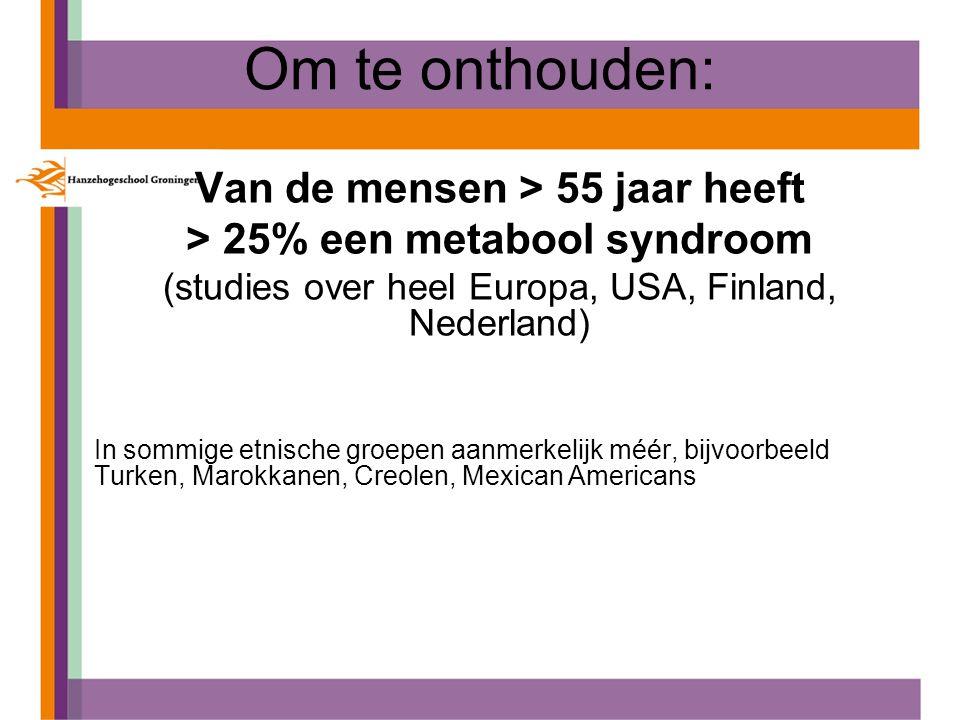 Om te onthouden: Van de mensen > 55 jaar heeft > 25% een metabool syndroom (studies over heel Europa, USA, Finland, Nederland) In sommige etnische gro