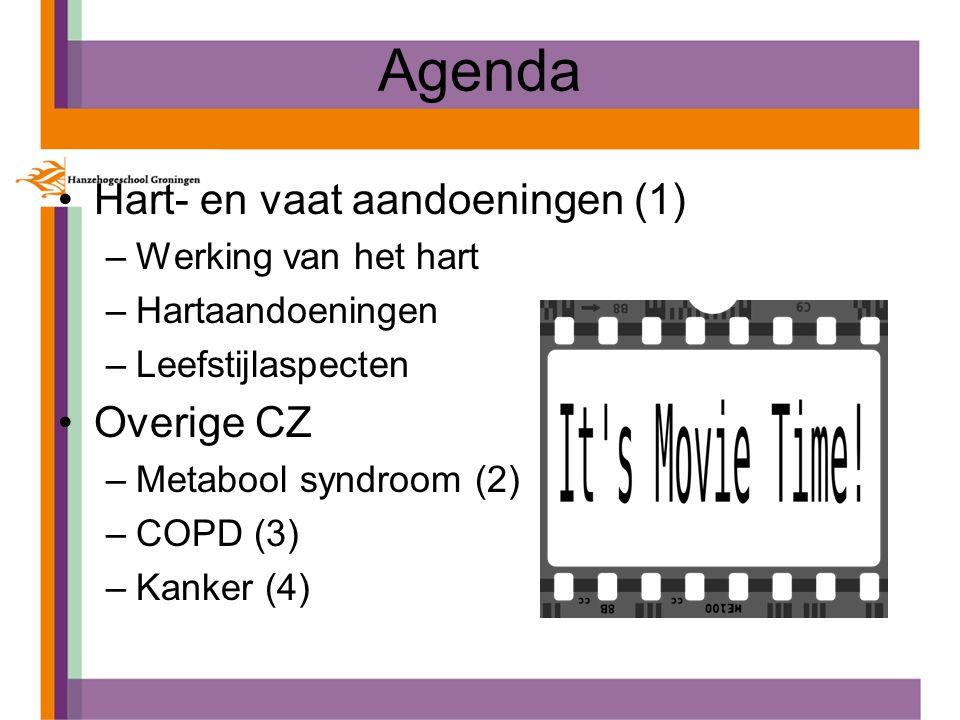 Agenda Hart- en vaat aandoeningen (1) –Werking van het hart –Hartaandoeningen –Leefstijlaspecten Overige CZ –Metabool syndroom (2) –COPD (3) –Kanker (