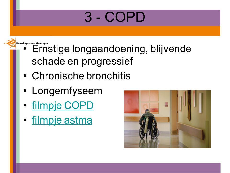 3 - COPD Ernstige longaandoening, blijvende schade en progressief Chronische bronchitis Longemfyseem filmpje COPD filmpje astma