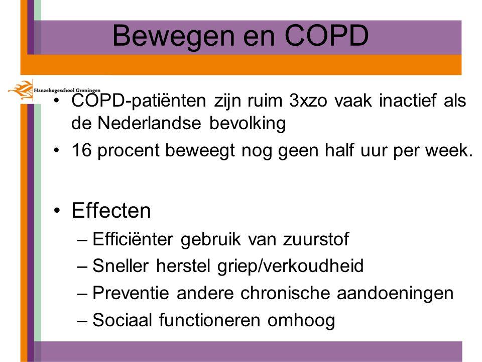 Bewegen en COPD COPD-patiënten zijn ruim 3xzo vaak inactief als de Nederlandse bevolking 16 procent beweegt nog geen half uur per week. Effecten –Effi