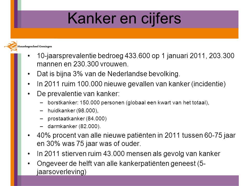 Kanker en cijfers 10-jaarsprevalentie bedroeg 433.600 op 1 januari 2011, 203.300 mannen en 230.300 vrouwen. Dat is bijna 3% van de Nederlandse bevolki