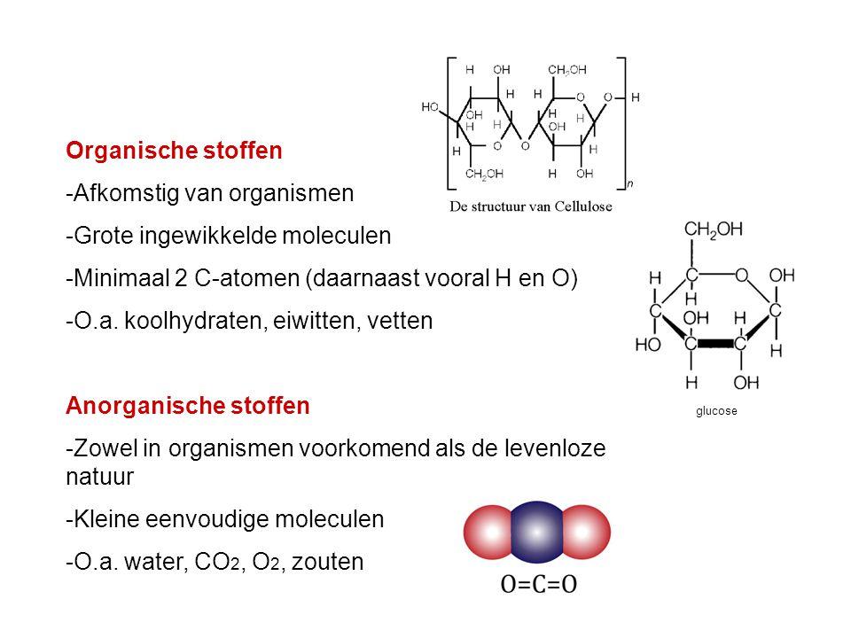 -Afkomstig van organismen -Grote ingewikkelde moleculen -Minimaal 2 C-atomen (daarnaast vooral H en O) -O.a. koolhydraten, eiwitten, vetten Anorganisc