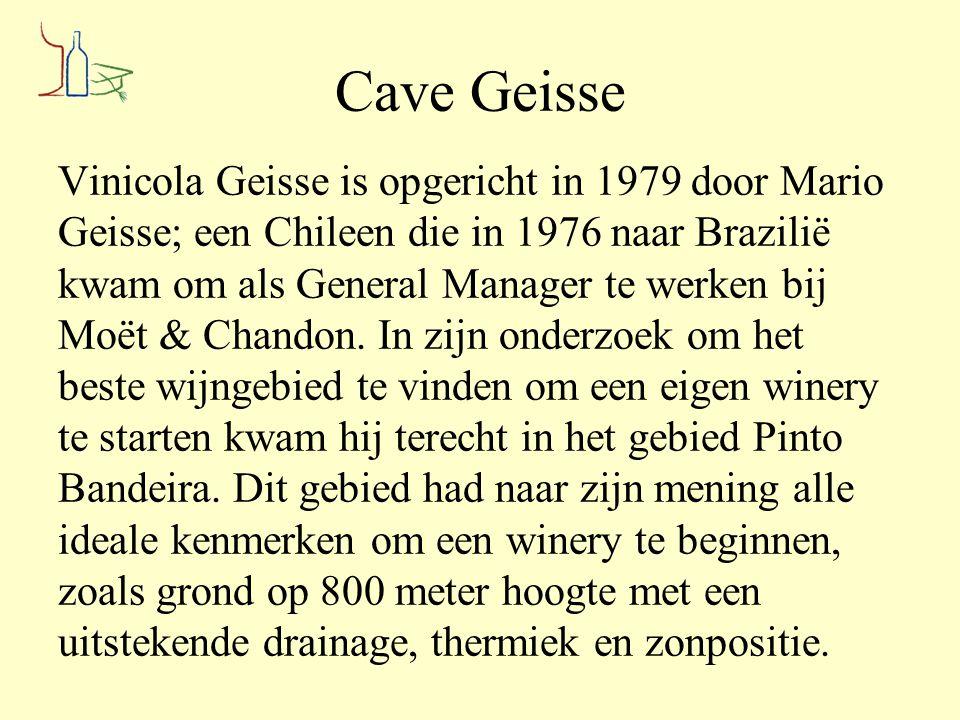 Cave Geisse Vinicola Geisse is opgericht in 1979 door Mario Geisse; een Chileen die in 1976 naar Brazilië kwam om als General Manager te werken bij Mo