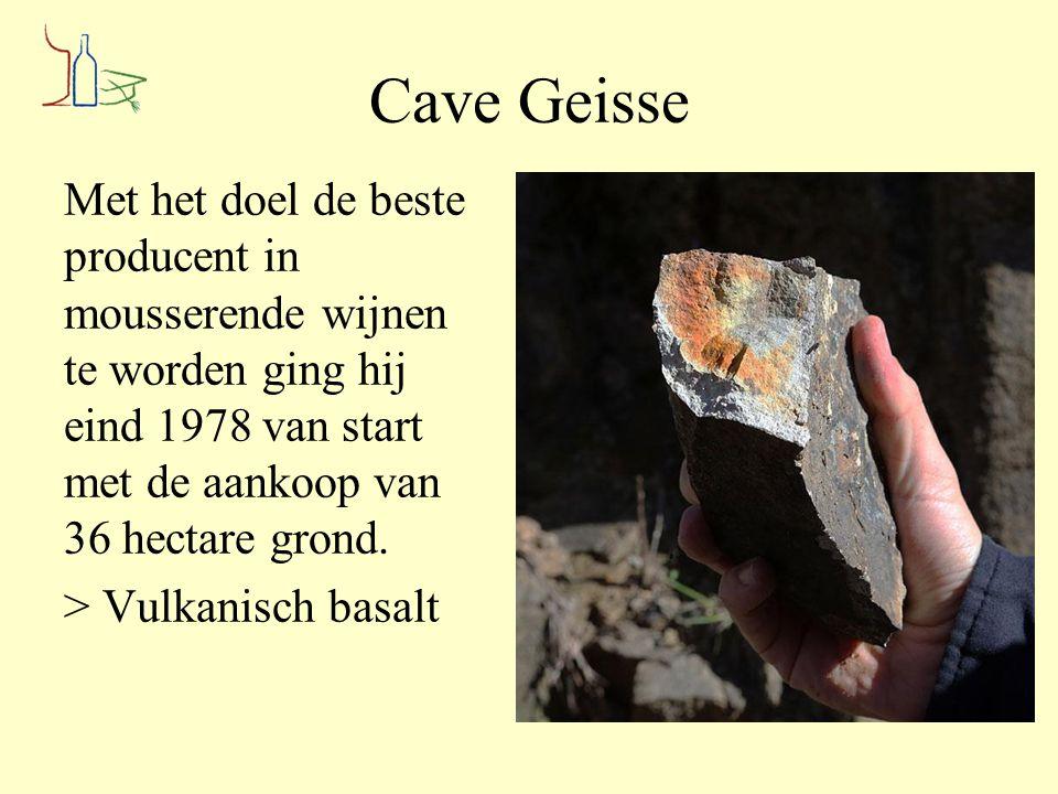 Cave Geisse Met het doel de beste producent in mousserende wijnen te worden ging hij eind 1978 van start met de aankoop van 36 hectare grond. > Vulkan