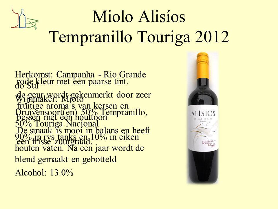 Miolo Alisíos Tempranillo Touriga 2012 Herkomst: Campanha - Rio Grande do Sul Wijnmaker: Miolo Druivensoort(en) 50% Tempranillo, 50% Touriga Nacional