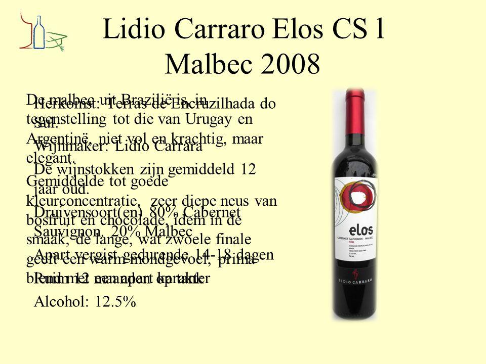 Lidio Carraro Elos CS l Malbec 2008 Herkomst: Terras de Encruzilhada do Sul. Wijnmaker: Lidio Carrara De wijnstokken zijn gemiddeld 12 jaar oud. Druiv