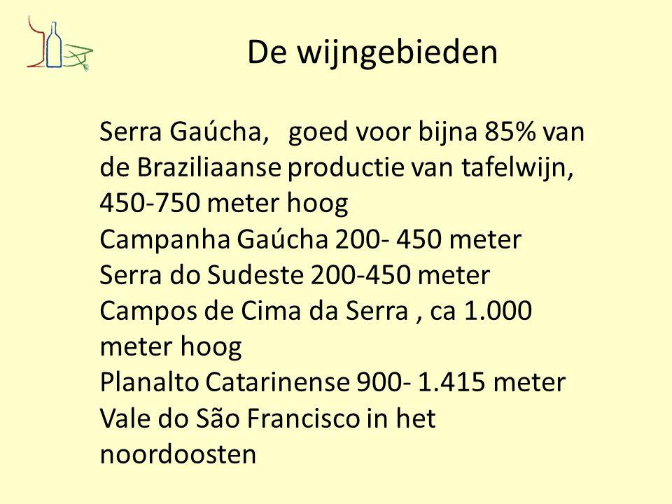 De wijngebieden Serra Gaúcha, goed voor bijna 85% van de Braziliaanse productie van tafelwijn, 450-750 meter hoog Campanha Gaúcha 200- 450 meter Serra