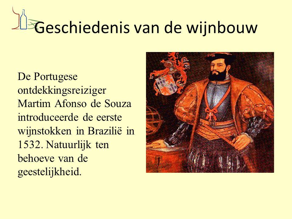Geschiedenis van de wijnbouw De Portugese ontdekkingsreiziger Martim Afonso de Souza introduceerde de eerste wijnstokken in Brazilië in 1532. Natuurli