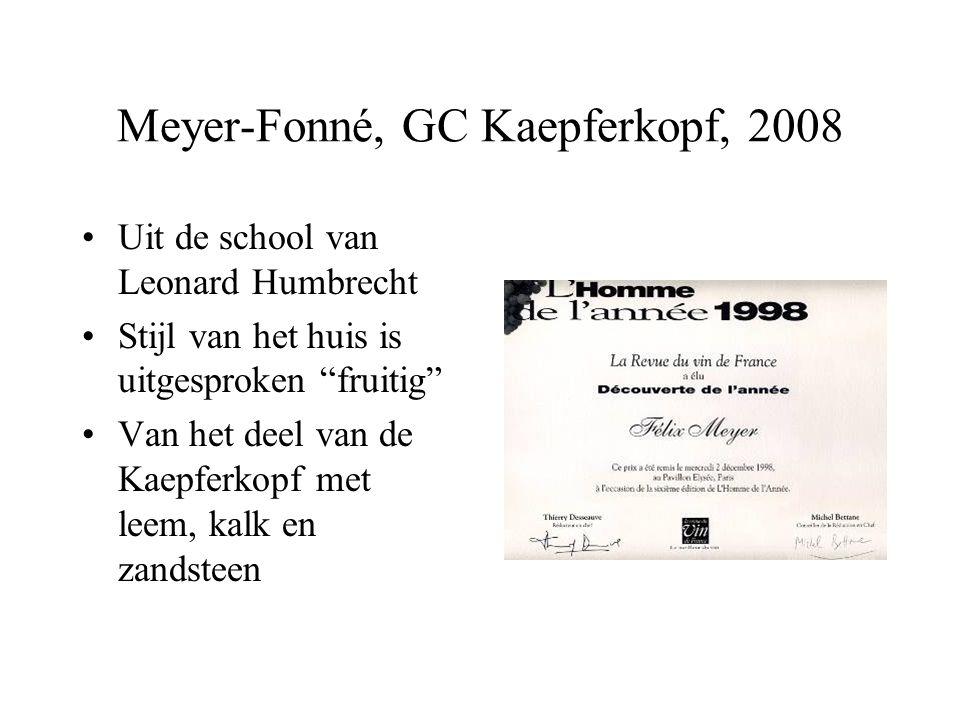 """Meyer-Fonné, GC Kaepferkopf, 2008 Uit de school van Leonard Humbrecht Stijl van het huis is uitgesproken """"fruitig"""" Van het deel van de Kaepferkopf met"""