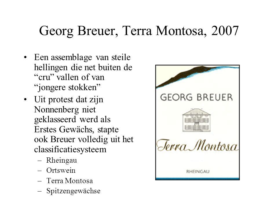 """Georg Breuer, Terra Montosa, 2007 Een assemblage van steile hellingen die net buiten de """"cru"""" vallen of van """"jongere stokken"""" Uit protest dat zijn Non"""