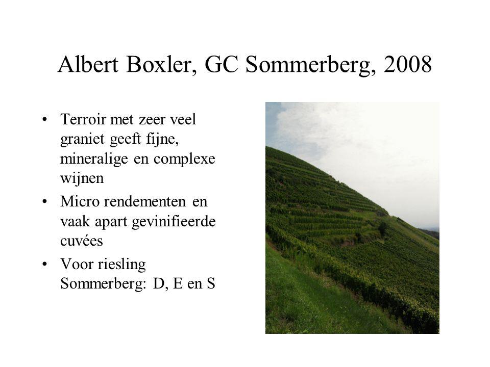 Albert Boxler, GC Sommerberg, 2008 Terroir met zeer veel graniet geeft fijne, mineralige en complexe wijnen Micro rendementen en vaak apart gevinifiee