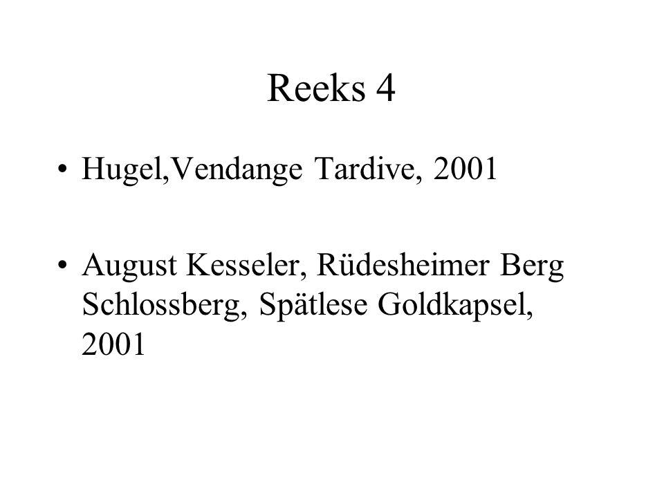 Reeks 4 Hugel,Vendange Tardive, 2001 August Kesseler, Rüdesheimer Berg Schlossberg, Spätlese Goldkapsel, 2001