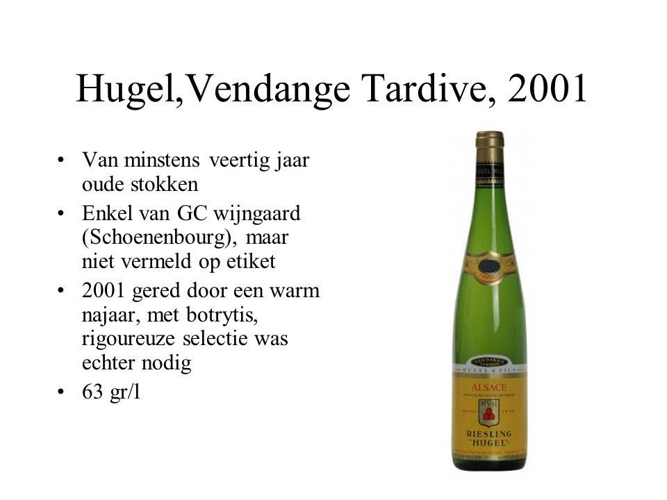 Hugel,Vendange Tardive, 2001 Van minstens veertig jaar oude stokken Enkel van GC wijngaard (Schoenenbourg), maar niet vermeld op etiket 2001 gered doo