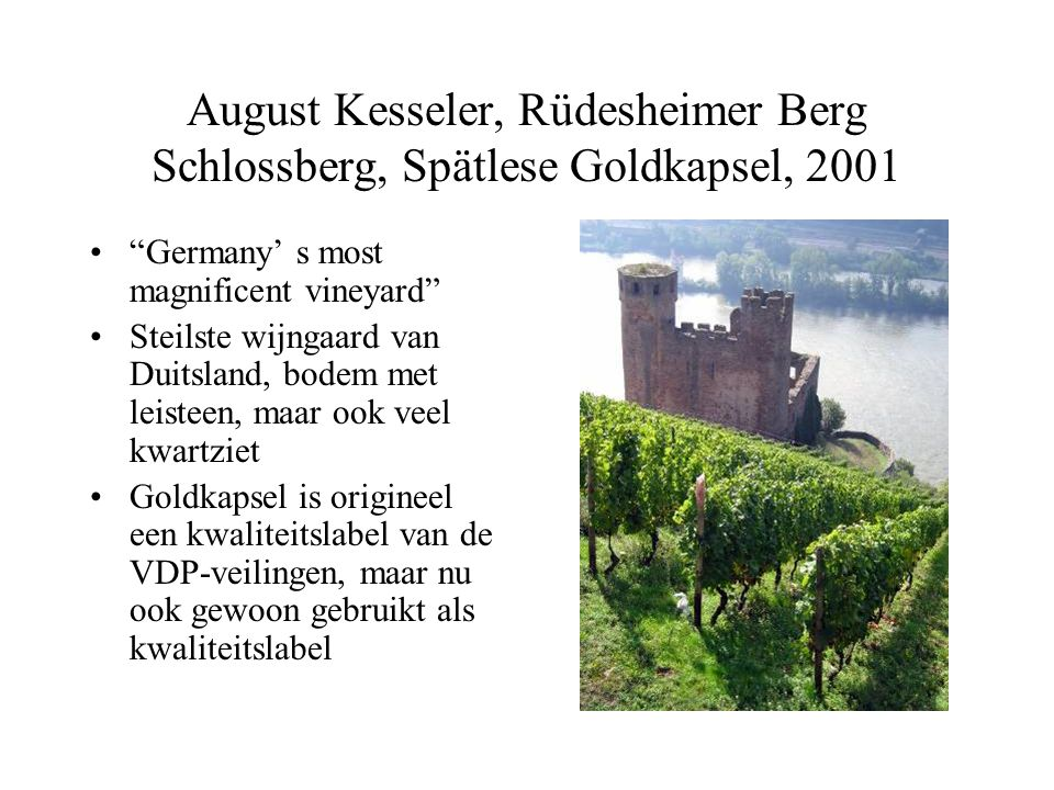 "August Kesseler, Rüdesheimer Berg Schlossberg, Spätlese Goldkapsel, 2001 ""Germany' s most magnificent vineyard"" Steilste wijngaard van Duitsland, bode"
