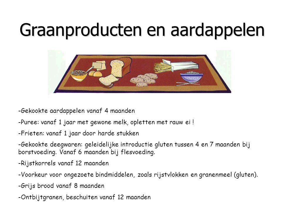 Graanproducten en aardappelen -Gekookte aardappelen vanaf 4 maanden -Puree: vanaf 1 jaar met gewone melk, opletten met rauw ei ! -Frieten: vanaf 1 jaa