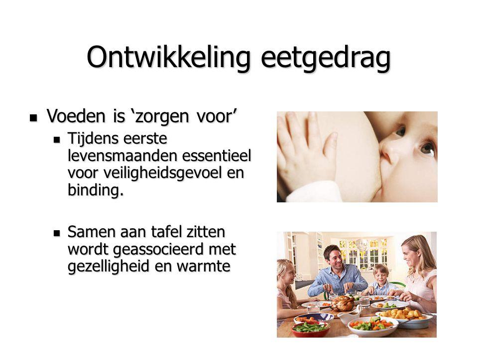 Ontwikkeling eetgedrag Voeden is 'zorgen voor' Voeden is 'zorgen voor' Tijdens eerste levensmaanden essentieel voor veiligheidsgevoel en binding. Tijd