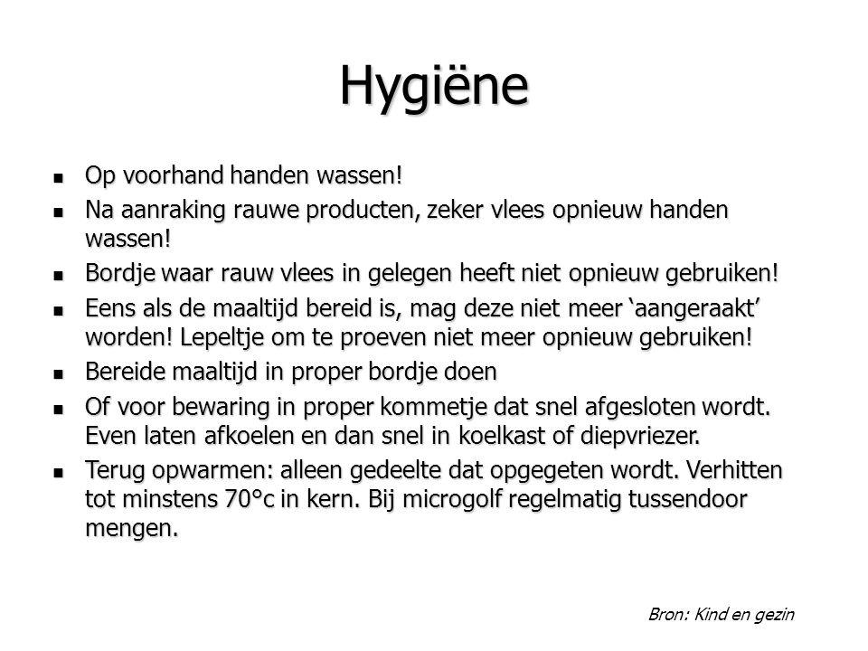 Hygiëne Op voorhand handen wassen! Op voorhand handen wassen! Na aanraking rauwe producten, zeker vlees opnieuw handen wassen! Na aanraking rauwe prod