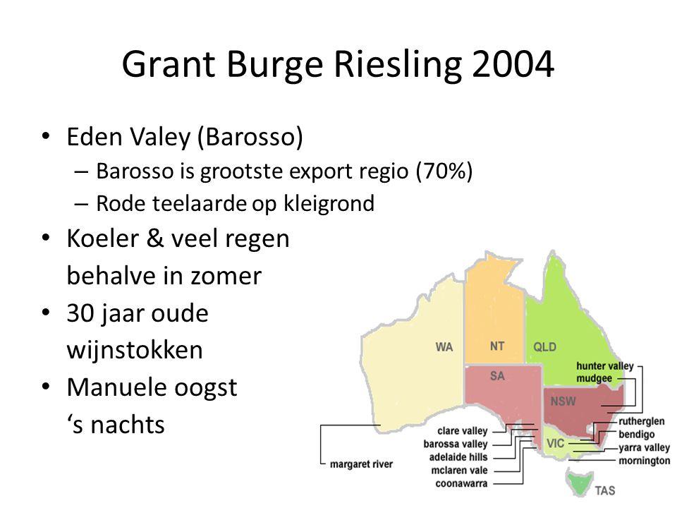 Grant Burge Riesling 2004 Eden Valey (Barosso) – Barosso is grootste export regio (70%) – Rode teelaarde op kleigrond Koeler & veel regen behalve in zomer 30 jaar oude wijnstokken Manuele oogst 's nachts