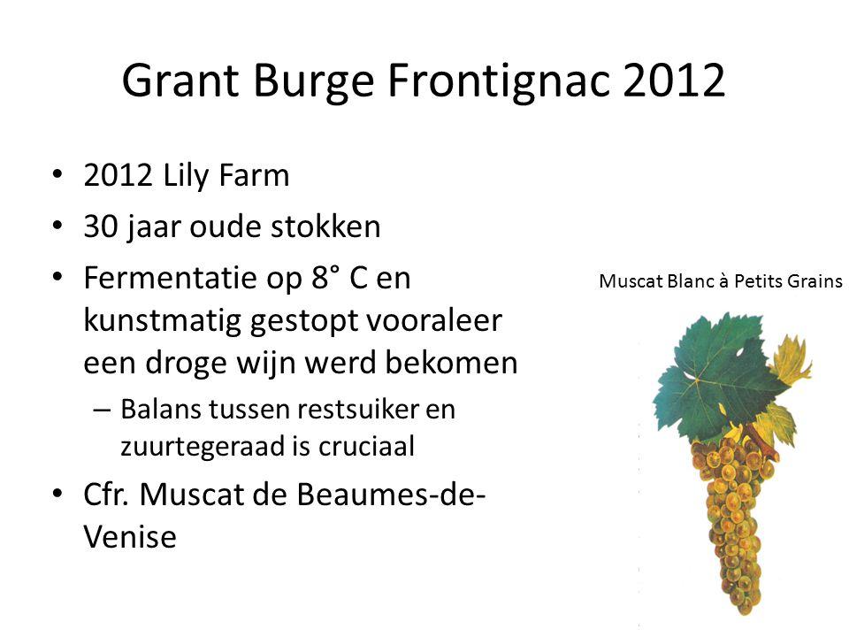Grant Burge Frontignac 2012 2012 Lily Farm 30 jaar oude stokken Fermentatie op 8° C en kunstmatig gestopt vooraleer een droge wijn werd bekomen – Balans tussen restsuiker en zuurtegeraad is cruciaal Cfr.