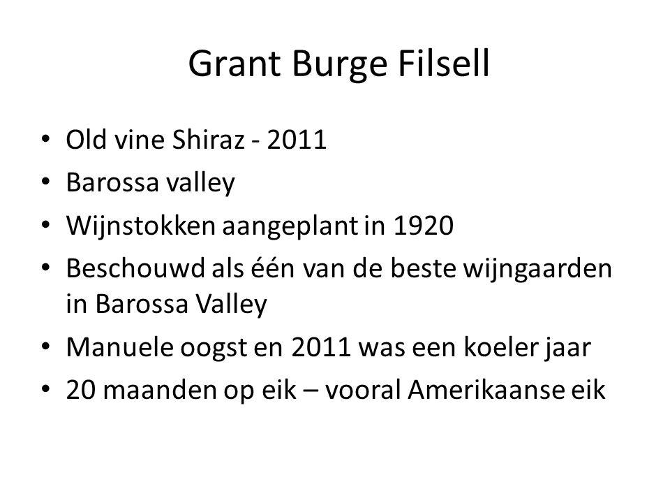 Grant Burge Filsell Old vine Shiraz - 2011 Barossa valley Wijnstokken aangeplant in 1920 Beschouwd als één van de beste wijngaarden in Barossa Valley Manuele oogst en 2011 was een koeler jaar 20 maanden op eik – vooral Amerikaanse eik