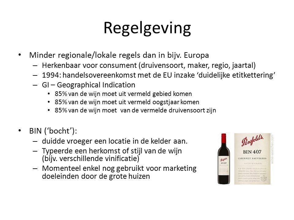 Regelgeving Minder regionale/lokale regels dan in bijv.