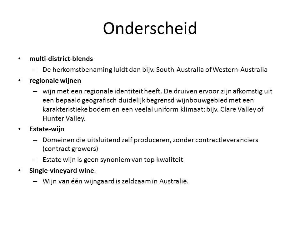 Onderscheid multi-district-blends – De herkomstbenaming luidt dan bijv. South-Australia of Western-Australia regionale wijnen – wijn met een regionale