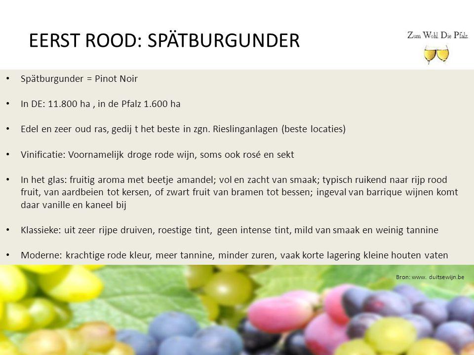 EERST ROOD: SPÄTBURGUNDER Bron: www. duitsewijn.be Spätburgunder = Pinot Noir In DE: 11.800 ha, in de Pfalz 1.600 ha Edel en zeer oud ras, gedij t het