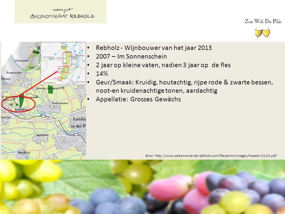 Bron: http://www.oekonomierat-rebholz.com/fileadmin/images/header/1113.pdf Rebholz - Wijnbouwer van het jaar 2013 2007 – Im Sonnenschein 2 jaar op kle