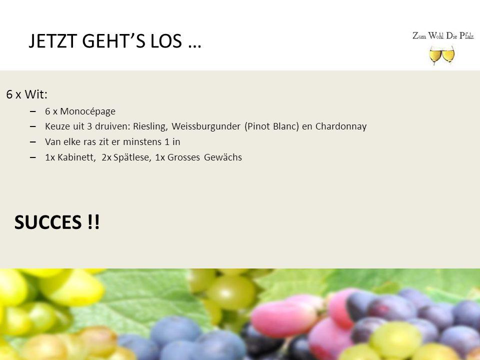 JETZT GEHT'S LOS … 6 x Wit: – 6 x Monocépage – Keuze uit 3 druiven: Riesling, Weissburgunder (Pinot Blanc) en Chardonnay – Van elke ras zit er minsten