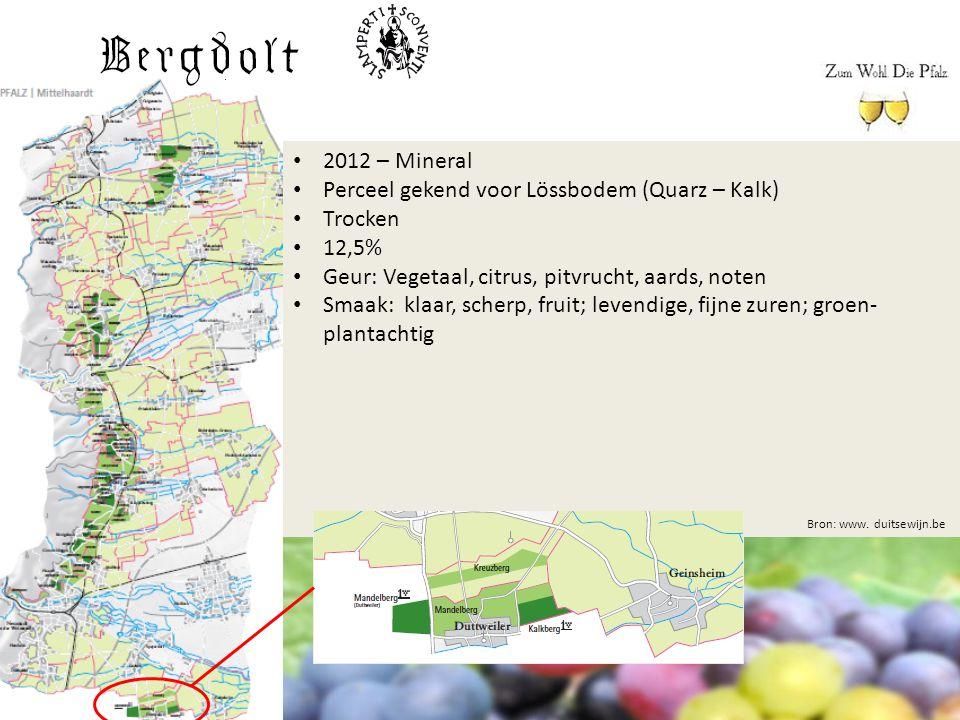 Bron: www. duitsewijn.be 2012 – Mineral Perceel gekend voor Lössbodem (Quarz – Kalk) Trocken 12,5% Geur: Vegetaal, citrus, pitvrucht, aards, noten Sma