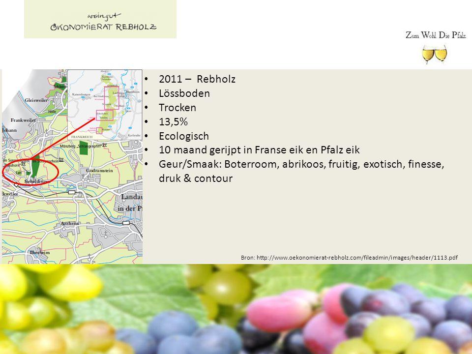 Bron: http://www.oekonomierat-rebholz.com/fileadmin/images/header/1113.pdf 2011 – Rebholz Lössboden Trocken 13,5% Ecologisch 10 maand gerijpt in Frans