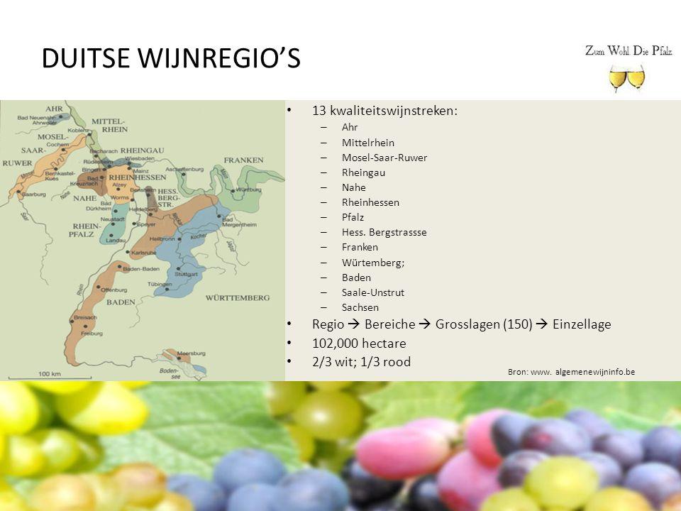 DUITSE WIJNREGIO'S 13 kwaliteitswijnstreken: – Ahr – Mittelrhein – Mosel-Saar-Ruwer – Rheingau – Nahe – Rheinhessen – Pfalz – Hess. Bergstrassse – Fra