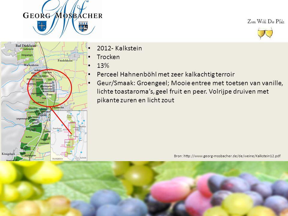 Bron: http://www.georg-mosbacher.de/de/weine/Kalkstein12.pdf 2012- Kalkstein Trocken 13% Perceel Hahnenböhl met zeer kalkachtig terroir Geur/Smaak: Gr